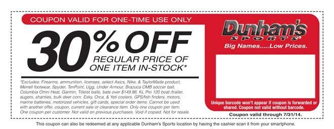 Dunham's discount coupons