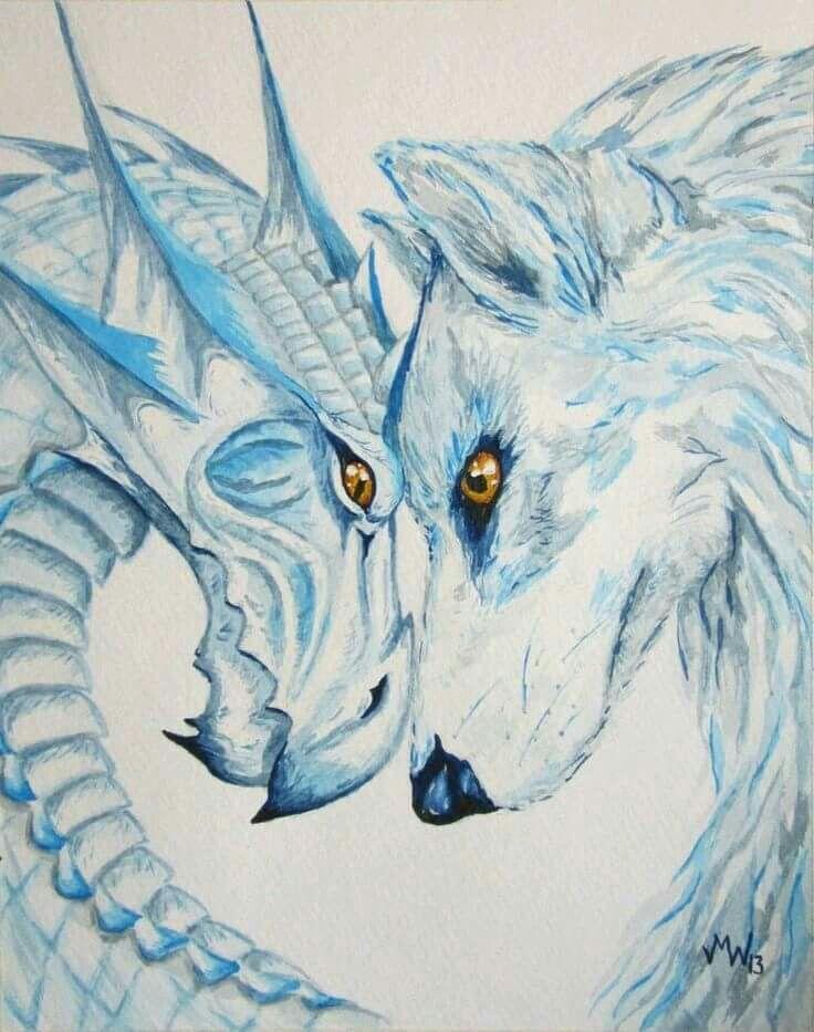 Drache und Wolf