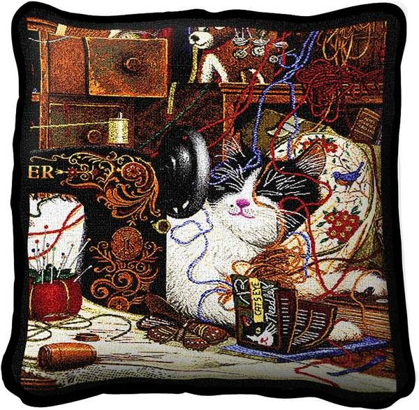 Charles Wysocki | Maggie The Messmaker | Throw Pillow | 17 x 17 - Cat Gifts for People