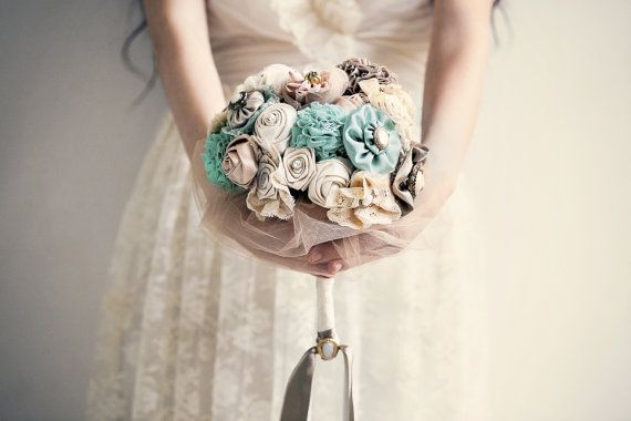 Bridal bouquet, wedding bouquet, ivory turquoise bouquet