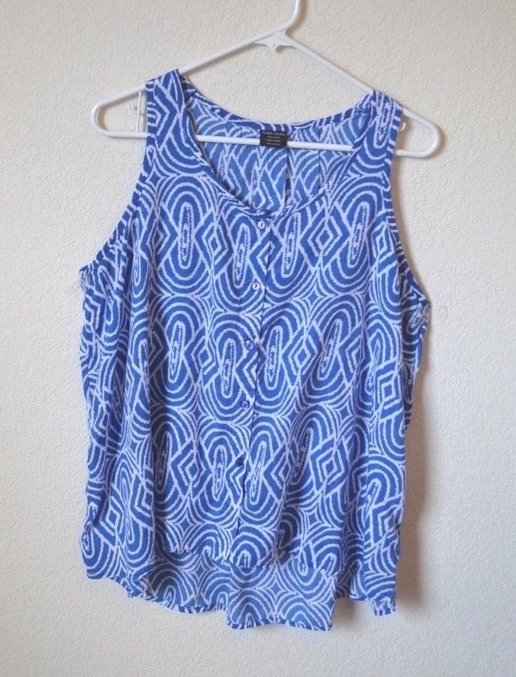 fe2ddee356005 FADED GLORY Size XXL (20) Blue White Lightweight Tank Top Sleeveless Blouse   fashion