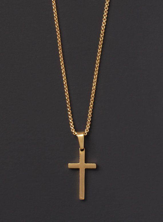 096f24ff5ef4c Cross Necklace for men - Men s gold cross necklace - Men s Jewelry ...