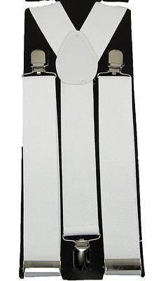 Mens WIDE WHITE Suspenders Adjustable Y-Shape Braces Unisex Clip-on Suspenders