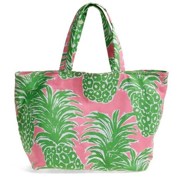 Women's Lilly Pulitzer Canvas Beach Tote ($68) ❤ liked on Polyvore featuring bags, handbags, tote bags, flamenco, tote handbags, canvas beach tote bag, green tote, beach tote bags and travel tote