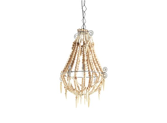 Marbella Beaded Chandelier in Natural, Small - Zohi Interiors