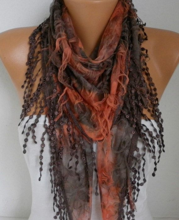 Brown & Orange Butterfly Scarf HalloweenFall Scarf by fatwoman