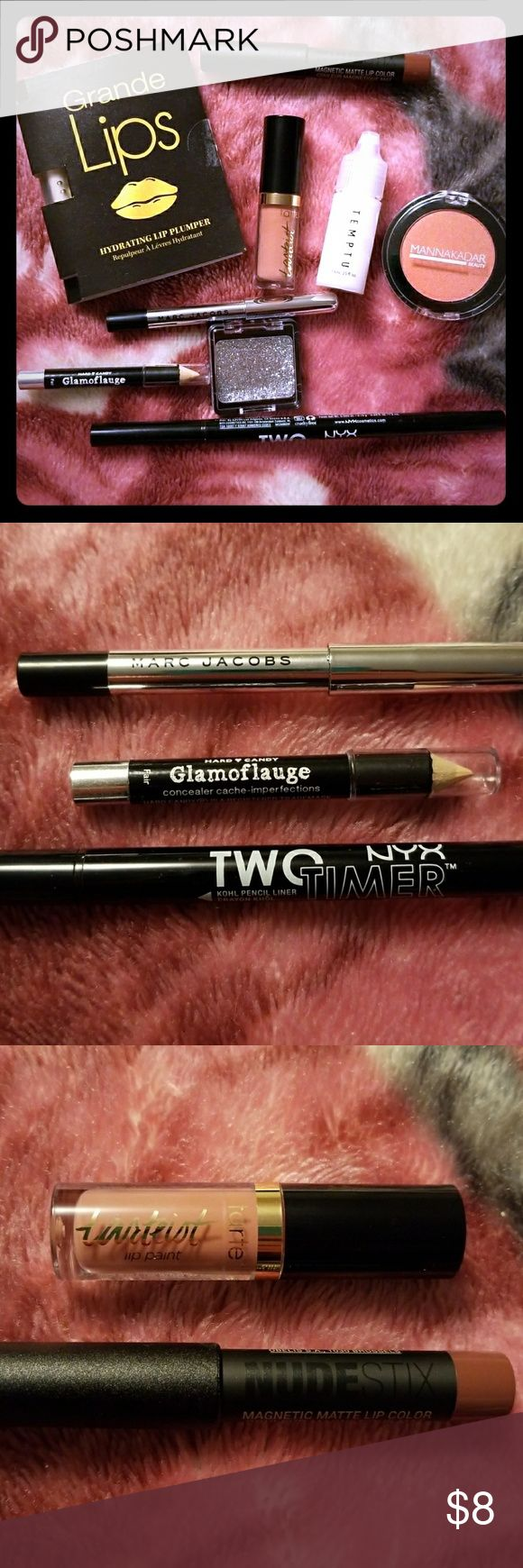 Makeup Bundle Grande Lips Hydrating Lip Plumper (new)  Temptu Base Smooth & Matte Primer (new) Manna Kadar Beauty Blush in Paradise Blush Wet N Wild Glitter Eyeshadow in Spiked (only swatched)  NYX Two Timer Kohl Pencil Liner and Felt Tip Liner in Jet Black (only used once)  Hard Candy Glamoflauge Pencil Concealer in Ivory (new)  Marc Jacobs Highliner Gel Crayon in Black (new)  NUDE STIX Magnetic Matte Lip Color in Greystone (new)  Tarte Tareist Lip Paint in Birthday Suit (new) Makeup