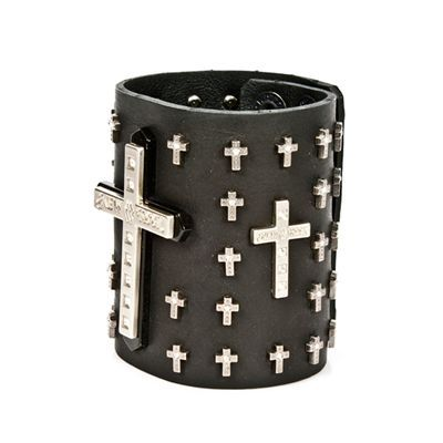 Metal Gothic lather bracelet with crosses studs www.attitudeholland.nl