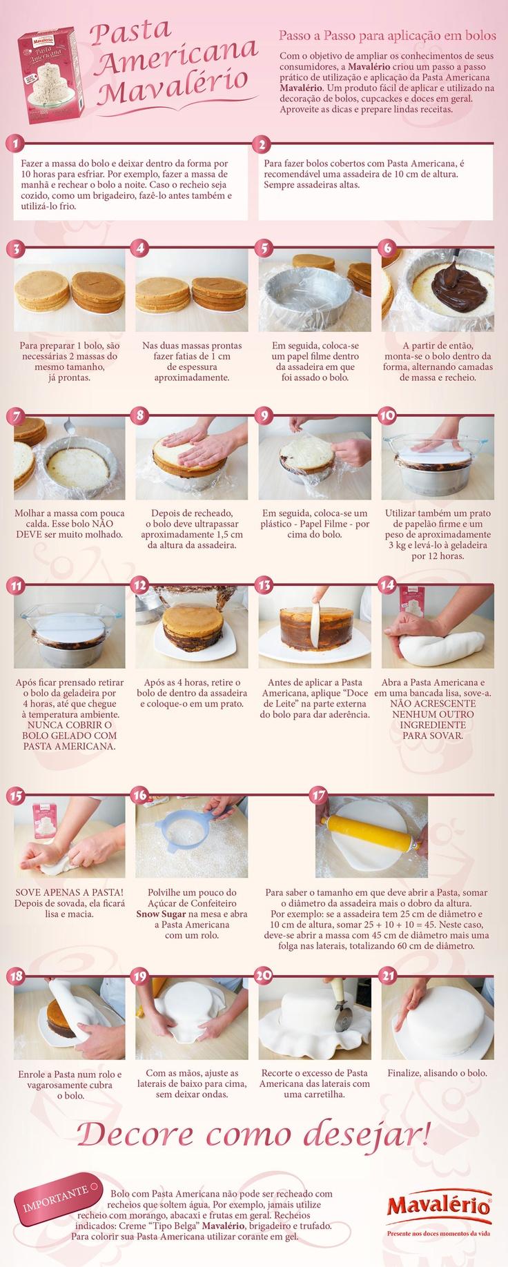 Pasta Americana Mavalério - Passo a Passo Para Aplicação em Bolos: Um Bolo, Ems Bolo, Bolo Decorado Passo A Passo, Americana De, Revenues, Bolo Pasta, Cakes Design, De Bolo, Pasta Americana