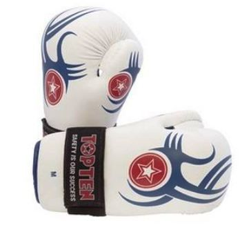 Blue and White Tribal design WAKO point Fight Gloves