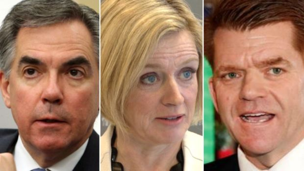 Alberta NDP Leader Rachel Notley, centre, and Wildrose Leader Brian Jean, right, are trying to unseat PC Leader Jim Prentice and end 43 years of Progressive Conservative rule in the province. Notley and Jean appeared on CBC Radio's The House.