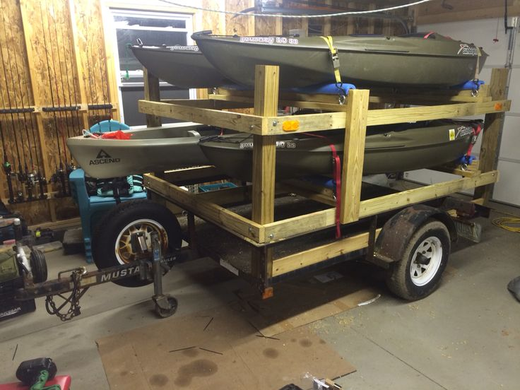 5x8 utility trailer converted into kayak carrier. Used 4x4 and 2x4 for construction. #kayaktrailer