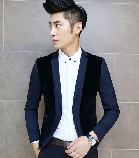 $59.18 -- Mens Blazers Korean Men Blazer Color Block Printing Ball Gown Button Party Wear Handsome Male top Size M-XXL For Sale Discount Online Shopping