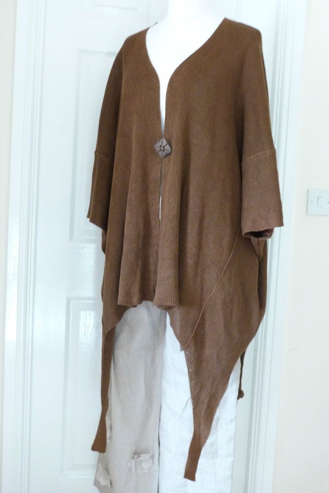ZUZA BART  100% linen quirky asymmetric  layering cardigan/jacket XL chocolate