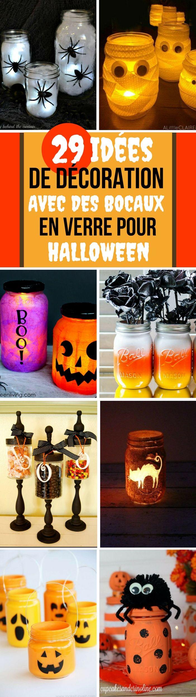 Que vous souhaitiez être mignon ou effrayant, cette liste d'idée DIY vous aidera à être au mieux dans l'esprit d'Halloween. Encore mieux, la plupart sont très faciles à faire et ne nécessitent que peu d'outils.   Si vous souhaitez pimenter vos décorations d'automne, organiser une belle fête d'Halloween ou être la maison la plus effrayante du quartier, je crois avoir quelques idées intéressantes pour vous.   #halloween2017 #halloween #bocal #diy #citrouille #lanterne #décoration