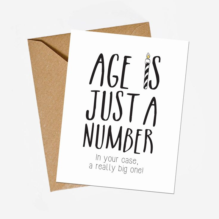 Funny birthday card. Age is just a number greeting card. Sarcastic wishes for happy birthday. Digital card file for instant download. by GraphicCorner on Etsy