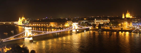 #Budapest by night as seen from the Castle of Buda - beautiful!
