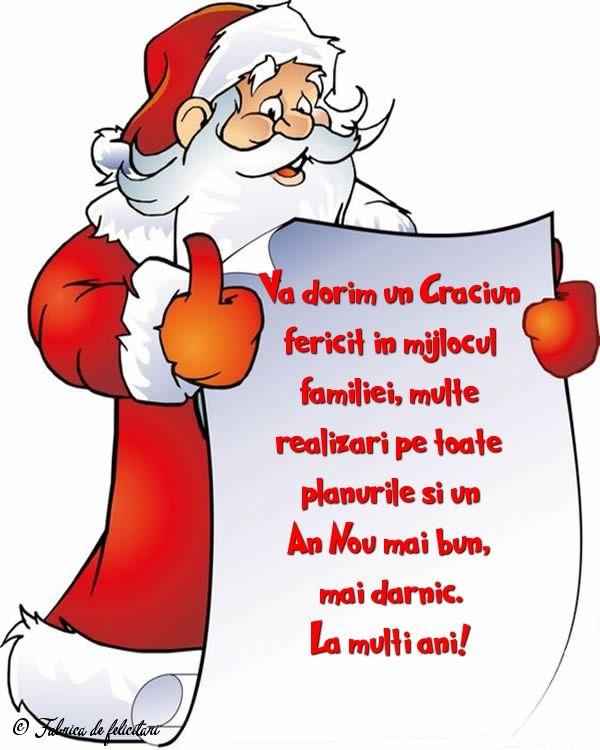 Vă dorim un Crăciun fericit în mijlocul familiei, multe realizări pe toate planurile și un An Nou mai bun, mai darnic.