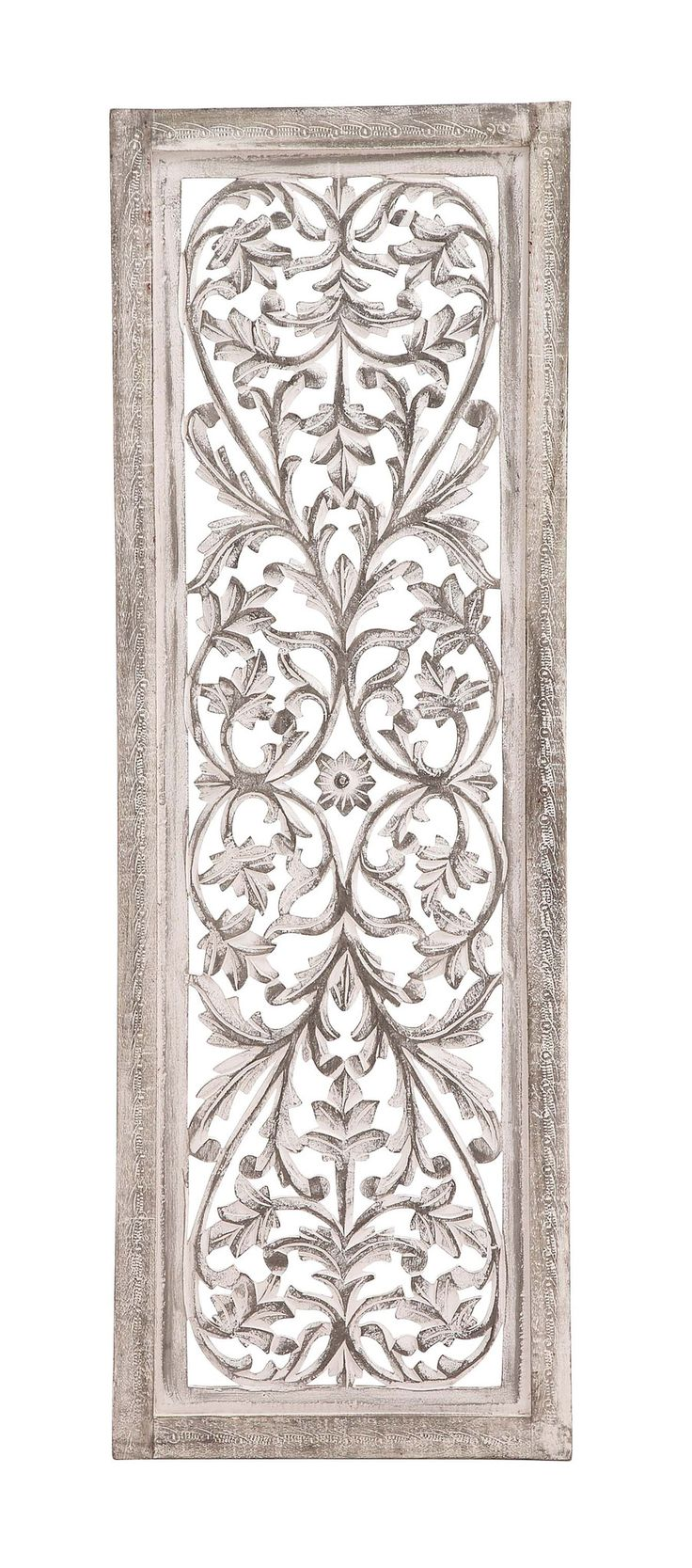 """48"""" White Shabby Moroccan Leaf Wood Wall Art Panel French Country Decor"""