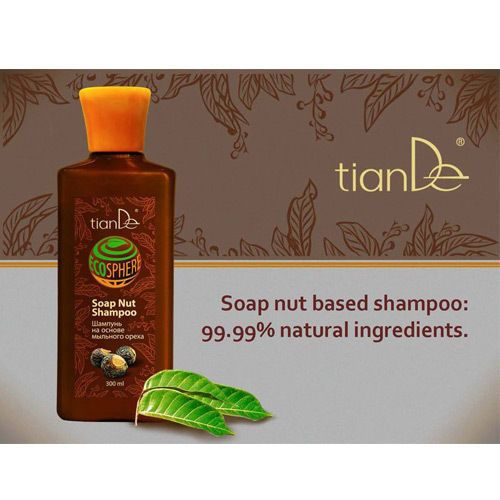 TianDe Soap Nut Shampoo ECO LINE This saponin - based shampoo, enriched with the extracts of 7 plants, gently cleanses the hair and scalp without disturbing their natural balance. Normalizes the activity of sebaceous glands, prolonging a sense of hair freshness and cleanliness. Protects against oily and dry dandruff. Suitable for colored, keratin-straightened and laminated hair. Does not contain sulphates.