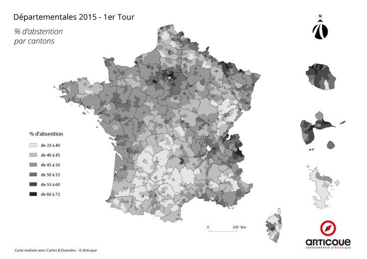 Départementales 2015 – Tour 1 : % d'abstention par cantons