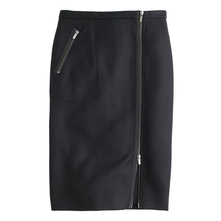 Asymmetrical zip pencil skirt in wool : pencil | J.Crew