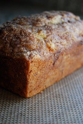 Banana loaf cake with cinnamon sugar swirl and topping. Add a tsp of baking powder because comments on the blog said the loaf did not rise well. Also put wax paper on the loaf pan so it would be easy to take out of the pan. NOTE: Butter & lightly flour the loaf pan before and after the wax paper. It will come out very easily.