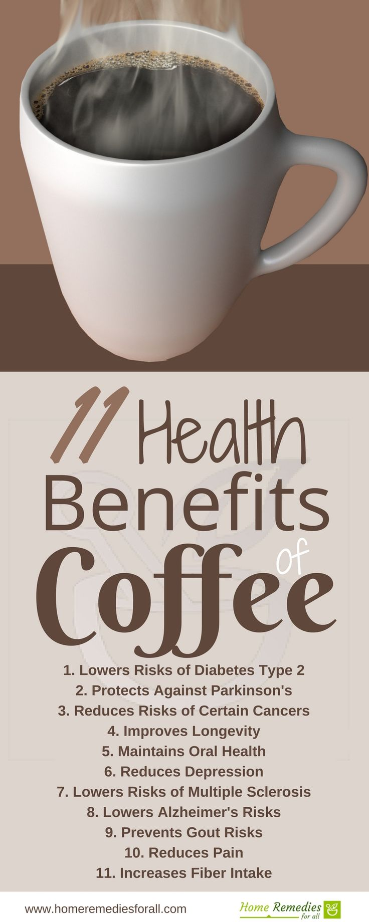 Coffee offers multiple health benefits if you drink 2-6 cups daily.