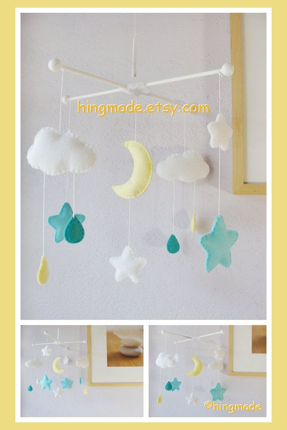 Baby Crib Mobile Pastel Colors Moon Stars And Clouds Neutral Nursery Decor Ceiling Hanging Cot Mint Er Yellow Gray White Theme Kid Stuff