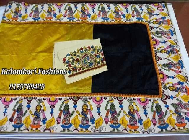 Hand loom tussar sareevwith pen kalamkari borders matched with full Blouse