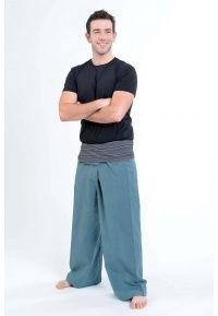 Pantalon Thaï gris bleu K1 - 100% pur coton népalais.