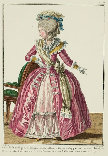 "Prunella shows up at the Society Ball, regrets everything.  ""Levite of pink satin trimmed with piping and white lozenges, the Trim of the petticoat is in drapery with Lozenges, the Scarf worn as a baldric, the Coiffure is a crested Pouf belted with a doubled narrow ribbon and adorned with flowers. (1781)"""