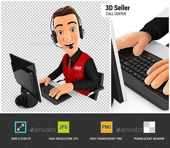 #3D Seller Call Center - Characters 3D #Renders