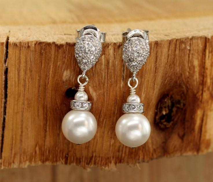 Drop Pearl Earrings, Stud Earring Bridal, Wedding Jewelry Bridal Earrings, Post