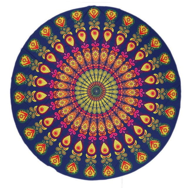 Round Beach Pool Home Shower Towel Blanket Table Cloth Yoga Mat European Peacock feathe serviette Swim Towels, 20 options