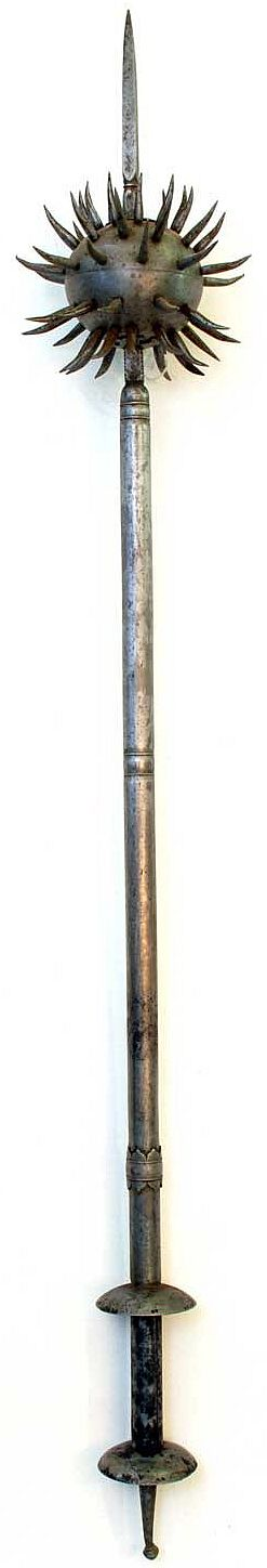 Indian spiked gurz (round headed mace), steel with a long central spike, Albert Hall Museum, Jaipur India.
