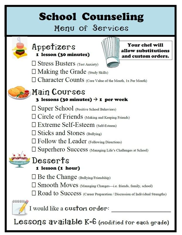 Might be a cute idea for teachers/students let you know what they need.  School Counseling Menu of Services  www.elementaryschoolcounseling.org