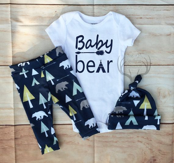 Baby Boy Coming Home Outfit Set Baby Bear Navy Blue