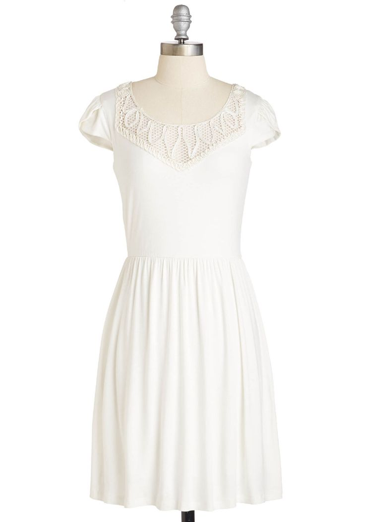 Posh for Thought Dress. Take a moment to stop and feel the breeze in this charming white frock. #white #modcloth