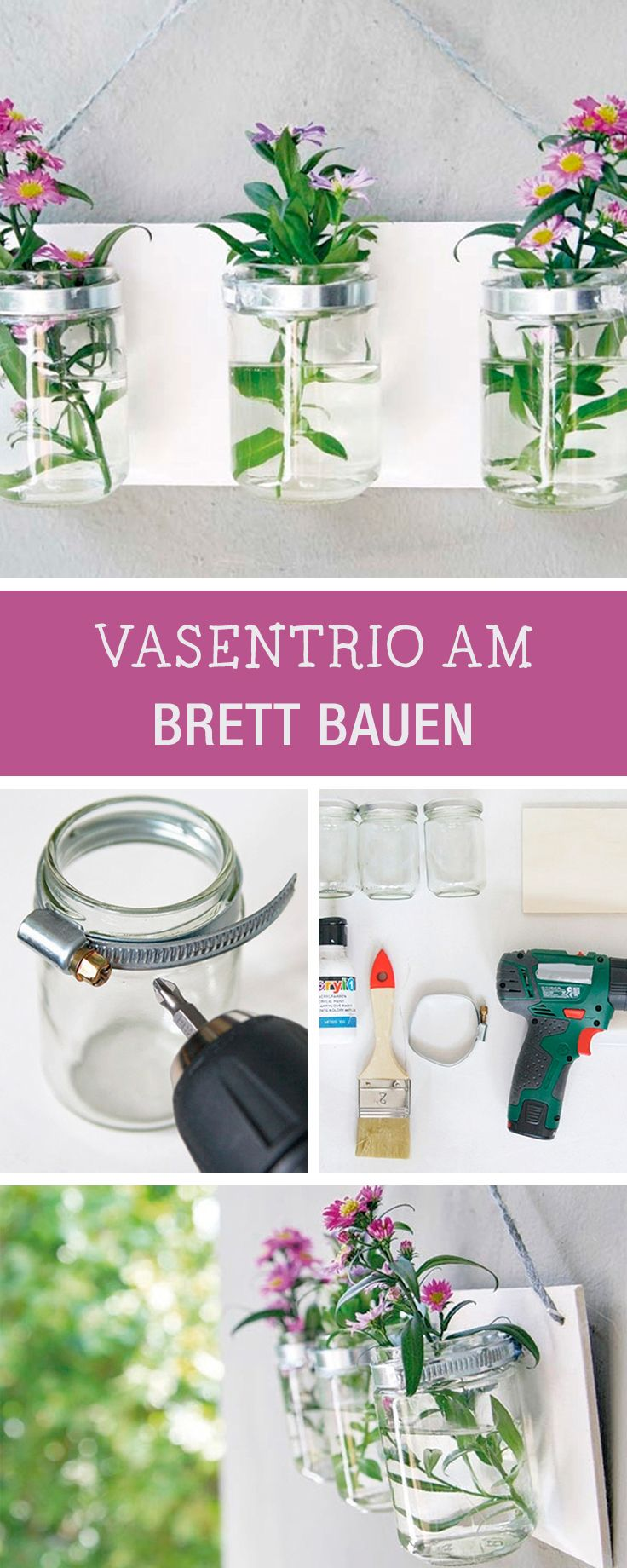 DIY-Inspiration für Wohndeko: Hängende Vasen am Brett bauen / crafting tutorial: upcycling idea for mason jars as hanging flower vases via DaWanda.com