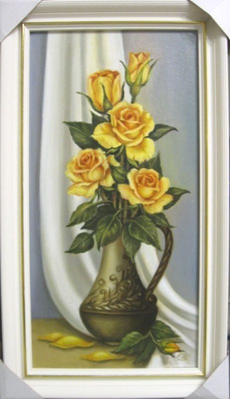 Желтые розы (холст,масло,30х60)-художник Ядвига Сенько