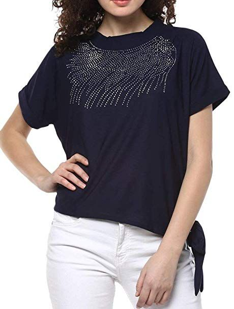 9f826a6becc60 Triumphin Blue Women Short Tshirt Top Kurti for Jeans Embroidered Cotton  Top for Daily wear Stylish