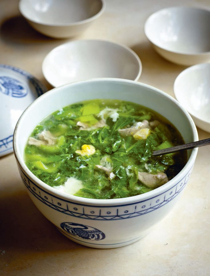 Soup of salted duck eggs, sliced pork and mustard greens recipe from Every Grain of Rice by Fuchsia Dunlop | Cooked