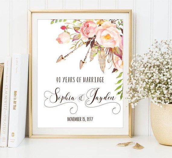 40th Anniversary Print Boho Arrows Watercolor Flowers Blush