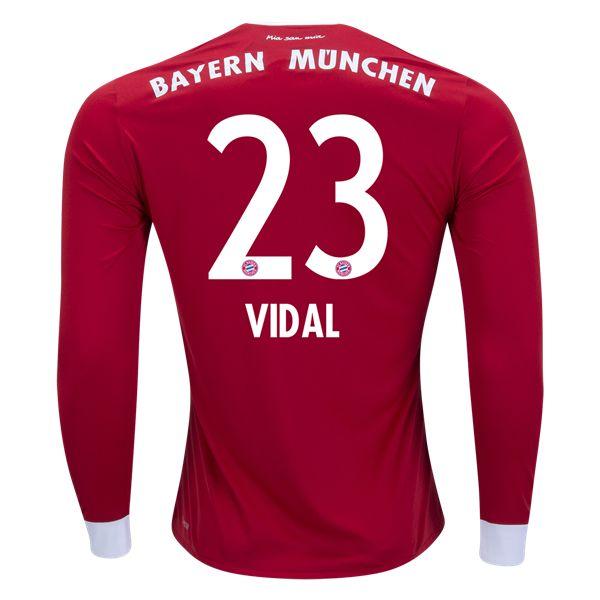 adidas Arturo Vidal Bayern Munich Long Sleeve Home Jersey 17/18