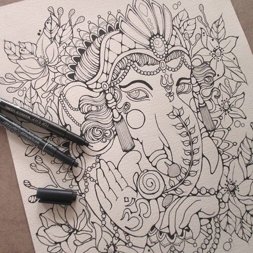 Outline of my little ganesh. Gonna color it with watercolor