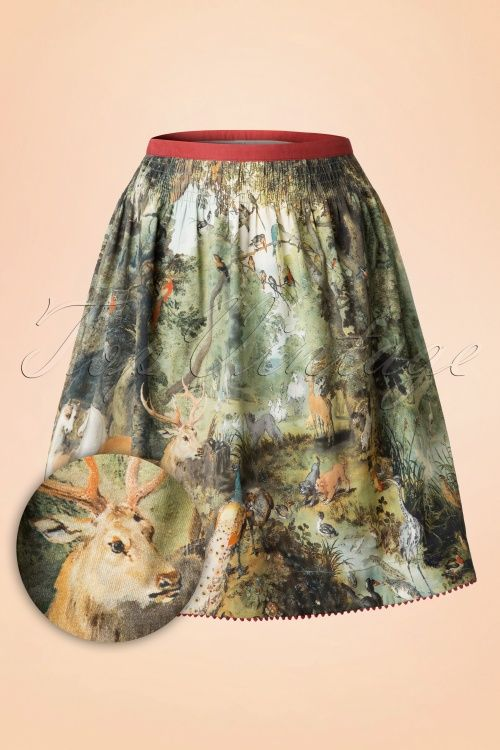 Blutsgeschwister - 60s Seance Tanz Glocke Skirt in Forest of Dreams