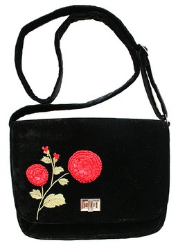 Pompom Shoulder Bag with gorgeous ribbon work detail on silk velvet