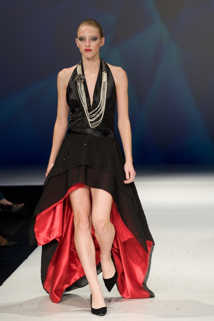 black satin halter dress with chiffon 'mullet' skirt lined in red satin