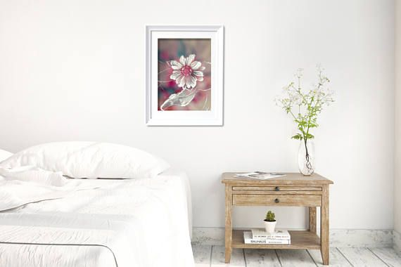 Pink floral poster with a gentle detail of flower head with frost crystals. Beautiful and inspiring decor for your modern bedroom. This modern photo poster is available in multiple sizes: 8 x 10 in, 12 x 16 in, 16 x 20 in, 18 x 24 in, 24 x 36 in. +++ #modernbedroom #bedroomdecor #flowerposter #flowerprint #modernartprint #kacixart